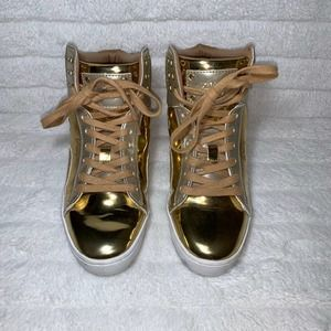 Pastry Gold Shiny High Top Sneakers